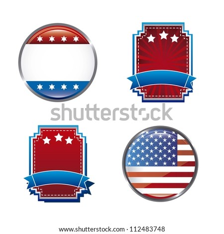 blank united states tags isolated over white background. vector - stock vector