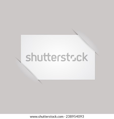 Blank vector paper business card on gray background with place for your text