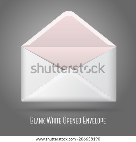Blank vector white opened envelope. Isolated on grey background for design and branding. - stock vector