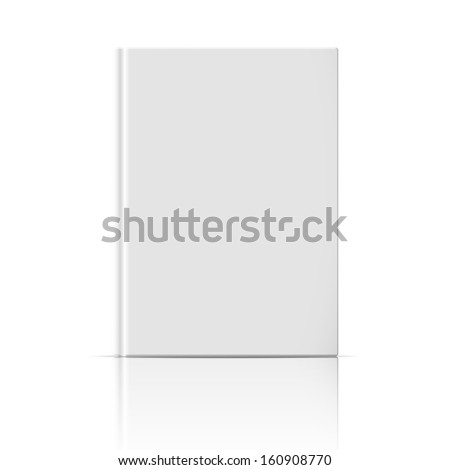 Blank vertical book cover template standing on white glossy background with reflection Vector illustration. - stock vector