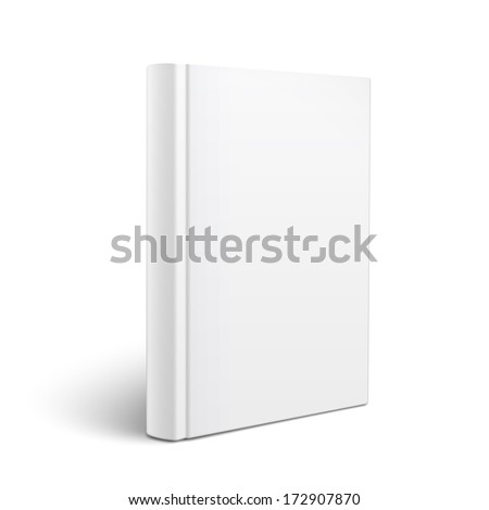 Blank vertical book cover template standing on white surface  Perspective view. Vector illustration. - stock vector