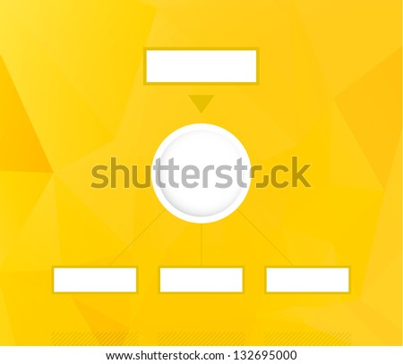 Blank vertical diagram with yellow abstract polygon background / vertical diagram with abstract background - stock vector