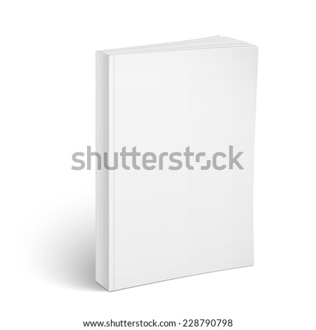 Blank vertical softcover book template standing on white surface  Perspective view. Vector illustration. - stock vector