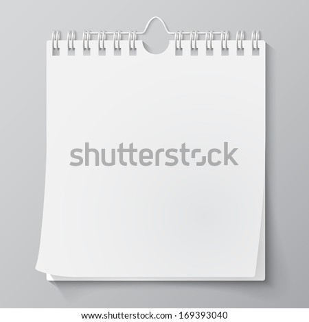 Blank wall calendar with spring. Vector - stock vector