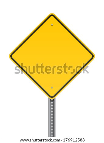 Blank warning road sign - stock vector