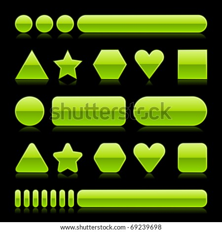 Blank web 2.0 glossy buttons with reflection. Green various forms on black background - stock vector