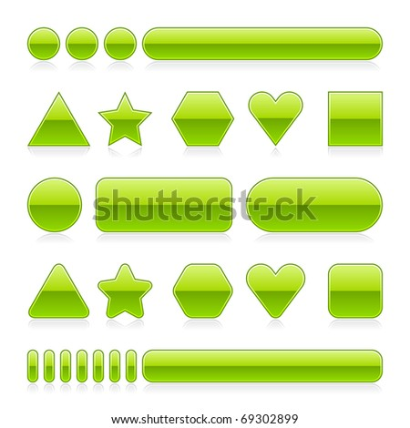 Blank web 2.0 glossy buttons with reflection. Green various forms on white background - stock vector