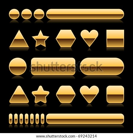 Blank web 2.0 metal buttons with reflection. Gold various forms on black background - stock vector