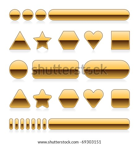 Blank web 2.0 metal buttons with reflection. Gold various forms on white background - stock vector