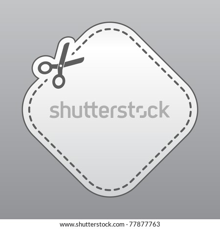 Blank white advertising coupon cut from sheet of paper - stock vector