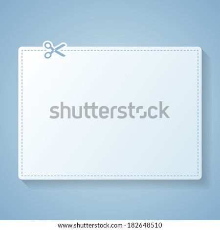 Blank white advertising coupon cut from sheet of paper. Vector eps 10. - stock vector