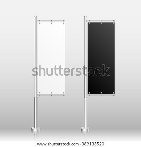 Blank White and Black Banner Flag Isolated on White Background. Vector illustration