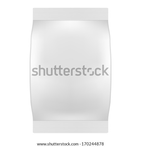 Blank White Bag Packaging For Wipes, Tissues or Food. Vector. Product Package Template - stock vector