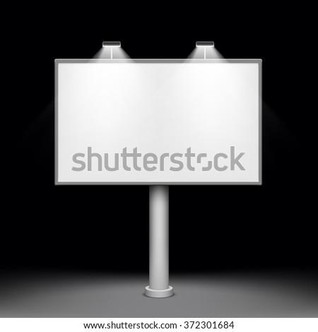 Blank white billboard. Metal construction for advertising. Stock vector illustration. - stock vector