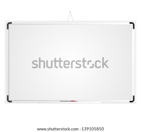 Blank white board isolated