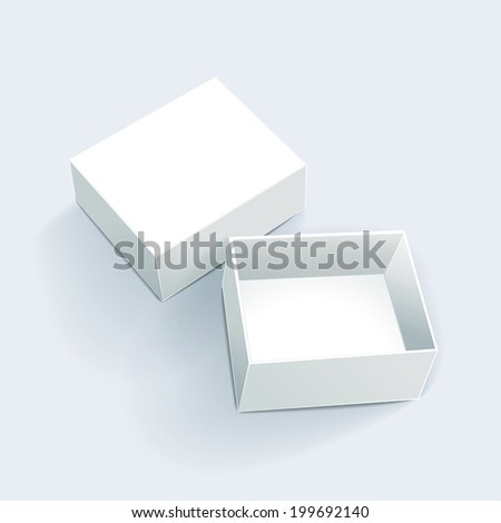 blank white box with soft shadow isolated on white background - stock vector