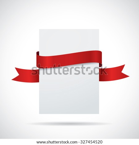 Blank white card with a red ribbon - stock vector