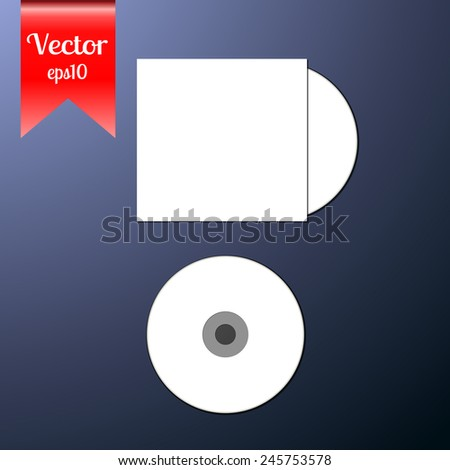 Blank white compact CD disk with clear blank cover mock up template. Vector illustration for your business design.Layered, easy to paste your image. - stock vector