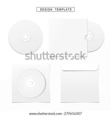 blank white compact disk with cover set isolated on white
