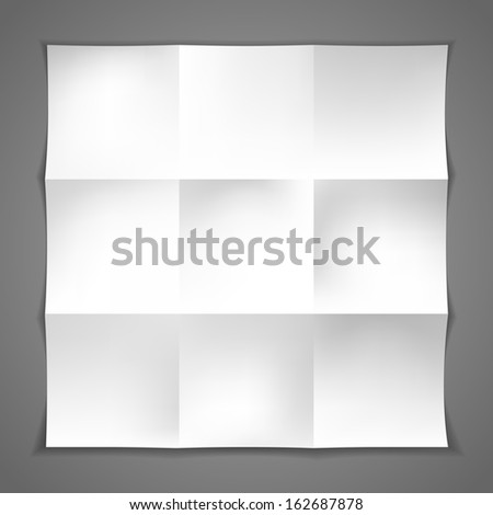 Blank white crumpled paper on gray background. Vector.  - stock vector