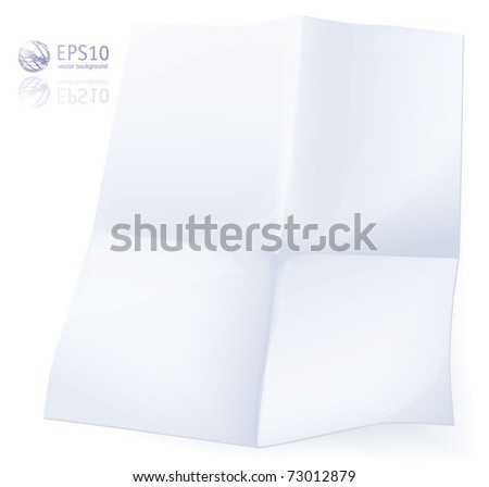 Blank white crumpled paper on white background. Vector. - stock vector
