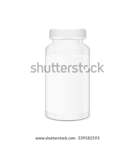 Blank white cylindrical box, pills and tablets container, 3d realistic vector, eps 10