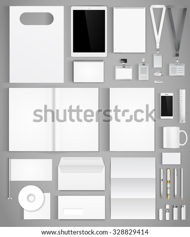 Blank white design template of corporate identity  with big set of business stationery. Vector illustration - stock vector