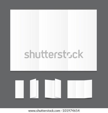 Blank white folding paper flyer. - stock vector