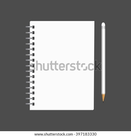 Blank white notebook with pencil,  business or education concept, mock up. Vector, EPS10