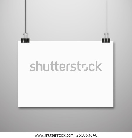 Blank white page hanging against grey background - stock vector