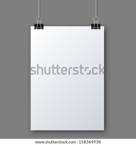Blank white page hanging against grey background vector template. - stock vector