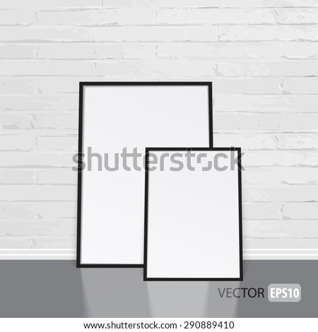 Blank white paper banner into black frames on white brick wall. Perfect for your presentations. Vector illustration.