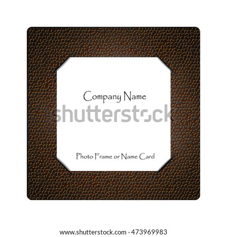 Blank white paper on leather, Name card or photo template
