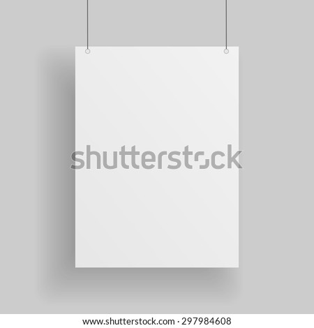 Blank white paper Page hanging against grey Background. Empty white vector paper Mockup - stock vector