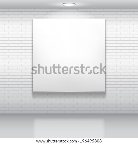 Blank white picture on brick wall. - stock vector