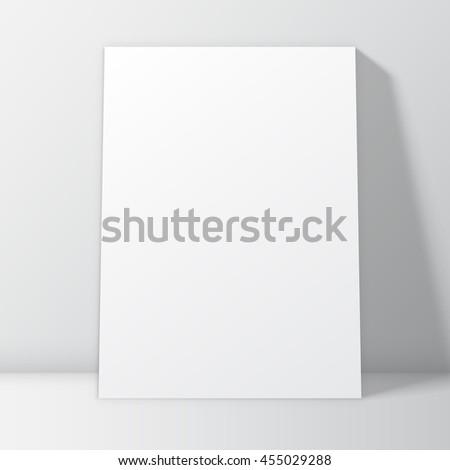 blank white poster frame inside interior poster mock up template vector illustration - White Poster Frame