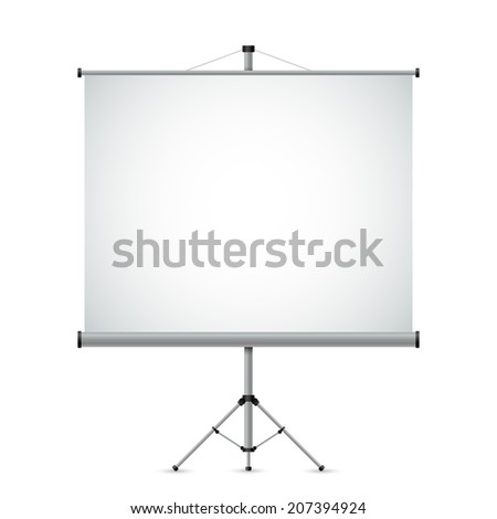 Blank white projection screen vector template. - stock vector