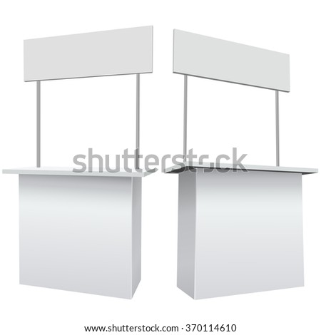 Blank white promotion exhibition counter isolated on the white background. - stock vector