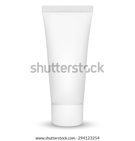 Blank white realistic tube for cosmetics, cream, ointment, toothpaste, lotion, medicine creme etc. isolated on white background.