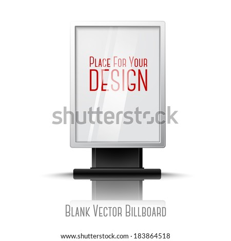 Blank white realistic vertical billboard with place for your design and branding under the glass. - stock vector