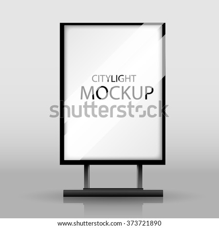 Blank white realistic vertical citylight with place for your design and branding under the glass.3d EPS10 - stock vector