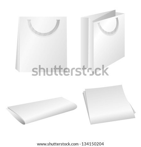 blank white shopping bags and papers