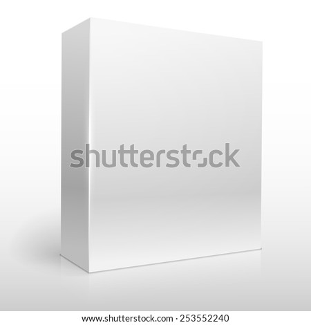 Blank white software box vector template. - stock vector