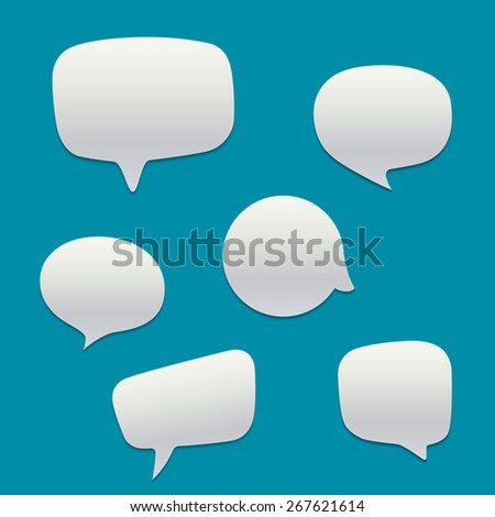 Blank  white speech bubbles. Vector template - stock vector