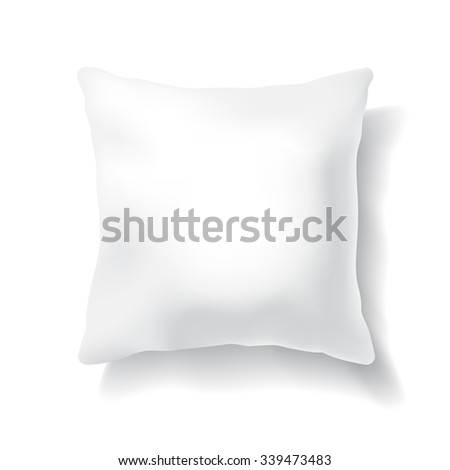 Blank White Square Pillow Isolated on White Background.  Design Template for Mock Up. Vector illustration