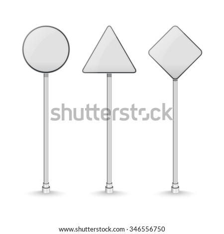 Blank white traffic road signs on white background. Vector illustration - stock vector