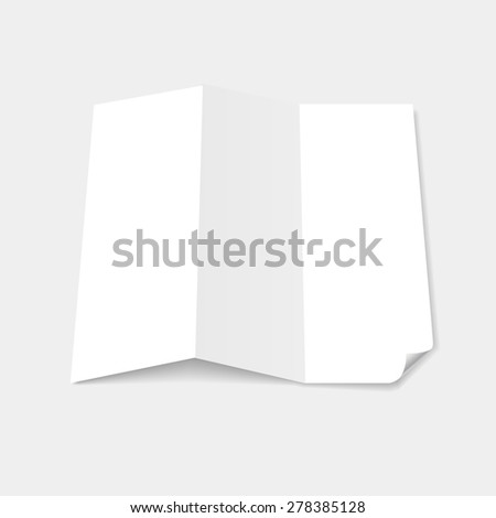 Blank white tri fold brochure template with page curl  - stock vector