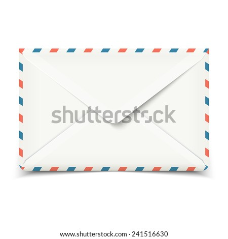 Blank white vector envelope isolated on white