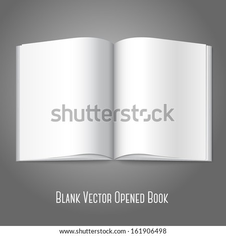Blank white vector opened book, magazine or photo album for your messages, design concepts,advertising, photos etc.  - stock vector