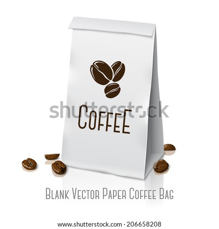 Blank white vector realistic paper packaging coffee bag with coffee sign and coffee beans,  with place for your design and branding. Isolated on white background with reflection. - stock vector